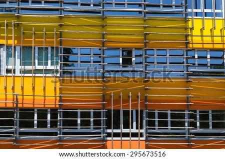 VIENNA, AUSTRIA, June 13, 2015: Vienna University of Economics and Business. Futuristic architecture designed by architect Zaha Hadid. Wirtschaftsuniversität Wien or WU. Exterior campus details. - stock photo