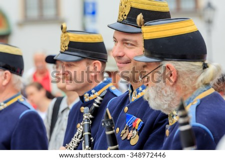 VIENNA, AUSTRIA - JUNE 27, 2015: Viennese military brass band. Performance on the square in Vienna, Austria.