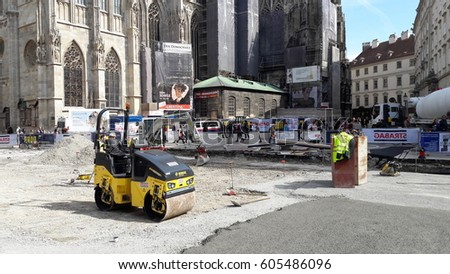 "VIENNA, AUSTRIA - MARCH 21, 2017: Infrastructure and construction works at the main historical square ""Stephansplatz"""