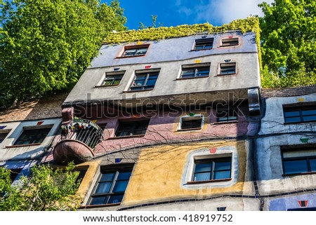 VIENNA, AUSTRIA - MAY 8, 2016: Hundertwasser House - apartment house in Vienna built after idea and concept Austrian artist Friedensreich Hundertwasser. Fragments of architecture.