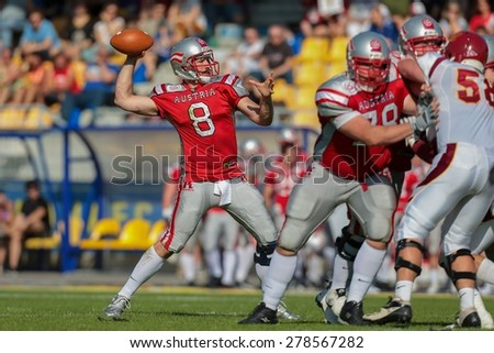 VIENNA, AUSTRIA - MAY 26, 2014: QB Christoph Gross (#8 Austria) passed the ball.