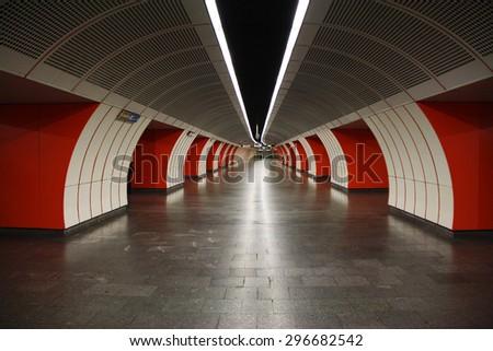VIENNA, AUSTRIA - MAY 25TH, 2015: Inside the bright light station of Vienna U-Bahn. More than 1.3 million passengers use the Vienna U-Bahn every day. Modern city U-Bahn opened in 1976 - stock photo