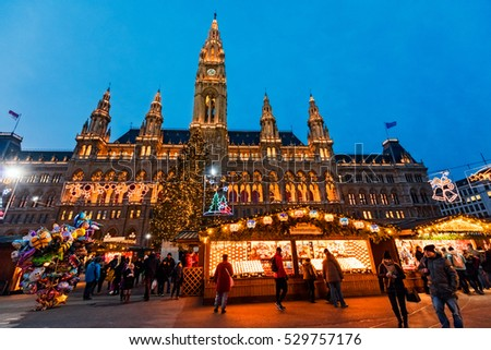 VIENNA, AUSTRIA - NOVEMBER 30, 2016: Annual christmas market at the City Hall (Rathaus) in downtown of austrian capital city.