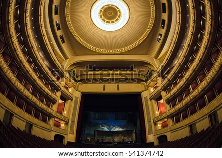 VIENNA, AUSTRIA - NOVEMBER 30, 2016: Interior of Vienna State Opera House. Wiener Staatsoper produces 50-70 operas and ballets in about 300 performance per year.