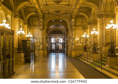 VIENNA, AUSTRIA - NOVEMBER 30, 2016: Main Entance of Vienna State Opera House. Wiener Staatsoper produces 50-70 operas and ballets in about 300 performance per year.