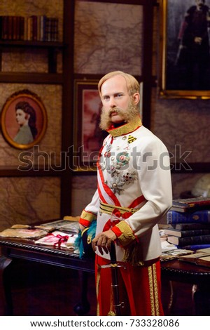 VIENNA, AUSTRIA - OCT 4, 2017: Franz Joseph I,  Emperor of Austria and King of Hungary, King of Bohemia, Madame Tussauds wax museum in Vienna.