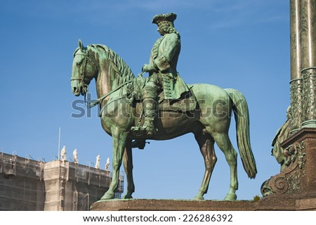 VIENNA, AUSTRIA - OCTOBER 12, 2014: Fragment of Maria Theresia monument in front of the Kunsthistorisches museum in Vienna, Austria. The monument was built in 1888.  - stock photo