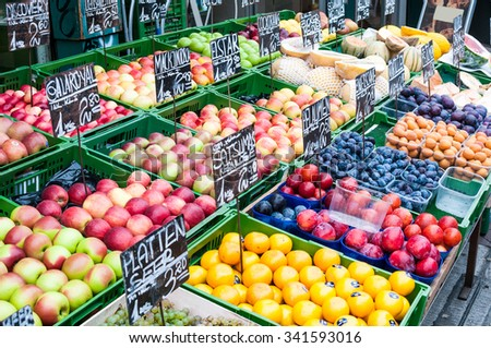 VIENNA, AUSTRIA - OCTOBER 16, 2015: Fruit stand at a market Naschmarkt in Vienna, Austria