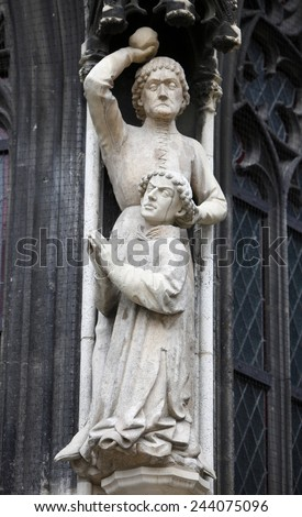 VIENNA, AUSTRIA - OCTOBER 10: Martyrdom of St. Stephen. Stoning of St. Stephen, detail of Stephansdom, Vienna, Austria on October 10, 2011.