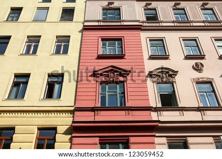 Vienna, Austria - old apartment building. The Old Town is a UNESCO World Heritage Site.