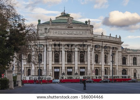 Vienna, Austria, on March 24, 2014. Building of city opera theater ((Burgtheater)