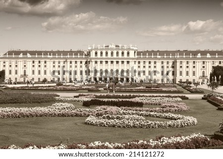Vienna, Austria - Schoenbrunn Palace, a UNESCO World Heritage Site. Sepia tone - retro monochrome color style. - stock photo