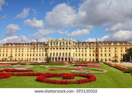 Vienna, Austria - Schoenbrunn Palace and Gardens, a UNESCO World Heritage Site. - stock photo