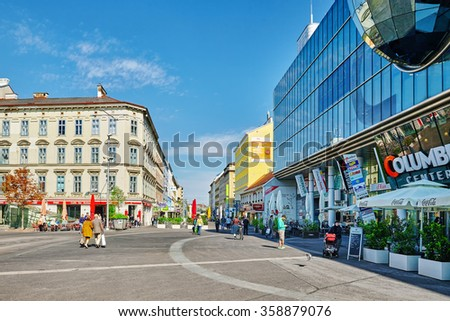 VIENNA, AUSTRIA- SEPTEMBER 10, 2015: Cityscape  views of one of Europe's most beautiful town- Vienna. Peoples on streets, urban life Vienna. Austria - stock photo