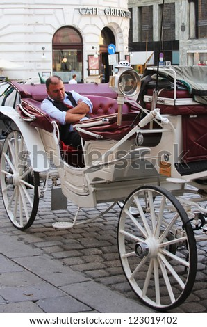 VIENNA, AUSTRIA - SEPTEMBER 2 :Fiaker carriage driver waiting for tourists on September 2, 2012 in Vienna, Austria. For many tourists a fieker ride is the most popular attraction in  Vienna. - stock photo
