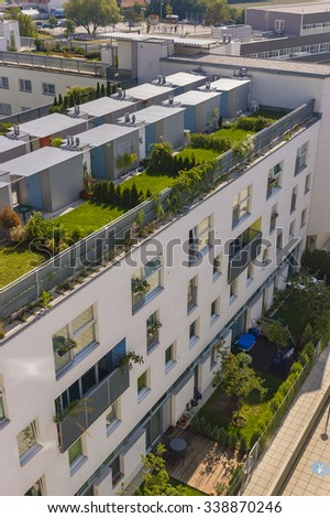 VIENNA, AUSTRIA - SEPTEMBER 2003: Roof top gardens at Global Yard, council housing, multicultural municipal apartment buildings (50% immigrant, 50% Vienna-born). - stock photo