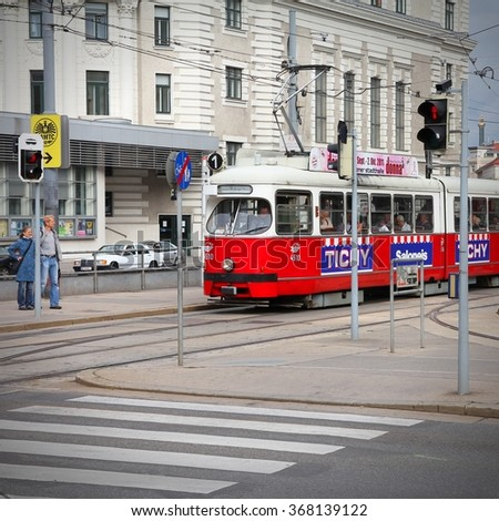 VIENNA, AUSTRIA - SEPTEMBER 9, 2011: Tramway in Vienna. With 172km total length, Vienna Tram network is among largest in the world. In 2009 186.9m passengers used Vienna trams. - stock photo
