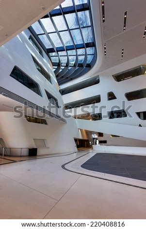 VIENNA, AUSTRIA - SEPTEMBER 29, 2014: Vienna University of Economics and Business. Futuristic architecture designed by architect Zaha Hadid. Interior detail. - stock photo