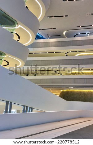 VIENNA, AUSTRIA - SEPTEMBER 29, 2014: Vienna University of Economics and Business. Futuristic architecture designed by architect Zaha Hadid. Interior detail.