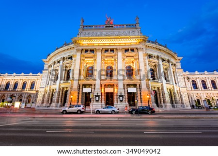 Vienna, Austria. The Burgtheater (Imperial Court Theater) is the Austrian National Theatre and one of the most important German language theatres in the world. - stock photo