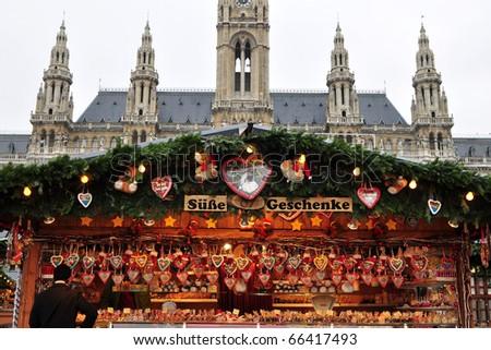 VIENNA, Austria, traditional Christmas market - stock photo