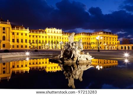 Vienna by night, Schonbrunn Palace - stock photo