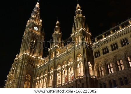 Vienna City Hall at Christmas - stock photo