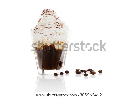 Vienna coffee. Coffee with whipped cream isolated on white background. Culinary coffee drinking. - stock photo