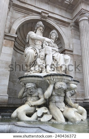 Vienna fountain ,Austria - stock photo