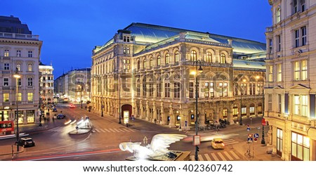 VIENNA - JANUARY: Rear of the Vienna State Opera at night
