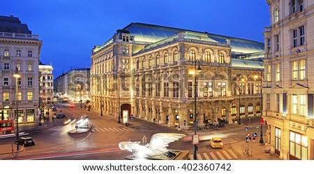 VIENNA - JANUARY: Rear of the Vienna State Opera at night - stock photo