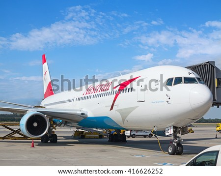 VIENNA - JULY 8: Austrian Airlines A-319 preparing for take-off in Vienna airport on July 8, 2015 in Vienna, Austria. Vienna airport is home for Austrian Airlines and one of biggest european hubs. - stock photo