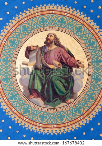 VIENNA - JULY 27: Fresco of one of the four big prophets from year 1855 by Joseph Schonman on the ceiling of side nave in Altlerchenfelder church on July 27, 2013 Vienna.  - stock photo