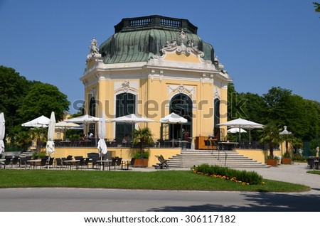 VIENNA - JUNE 23: Breakfast Pavillon at Schonbrunn zoo on June 23, 2013 in Vienna, Austria. The former imperial summer residence is the most-visited tourist attraction in Vienna. - stock photo