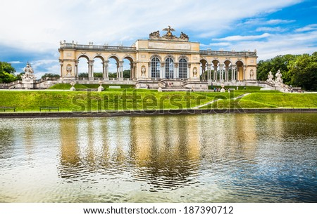 VIENNA - JUNE 14: Gloriette at Schonbrunn Palace with gardens on June 14, 2013 in Vienna, Austria. The former imperial summer residence is the most-visited tourist attraction in Vienna. - stock photo