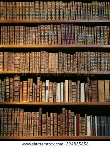 Vienna - March 10 2016: old books on wooden shelf in the national library of Vienna, 10 March 2016, Vienna, Austria. - stock photo