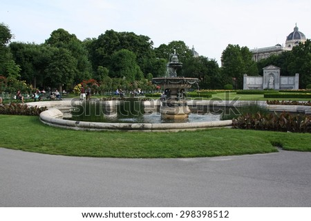 VIENNA - MAY 28: Fountain of Belvedere palace on May 28, 2015 in Vienna. - stock photo