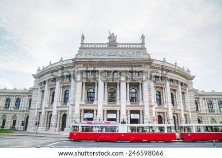 VIENNA - OCTOBER 20: Burgtheater building on October 20, 2014 in Vienna. It's the Austrian National Theatre in Vienna and one of the most important German language theatres in the world.