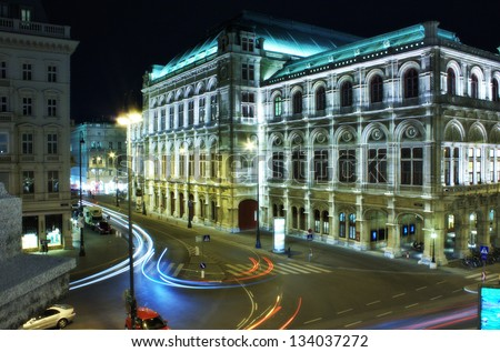 Vienna opera house at night - stock photo