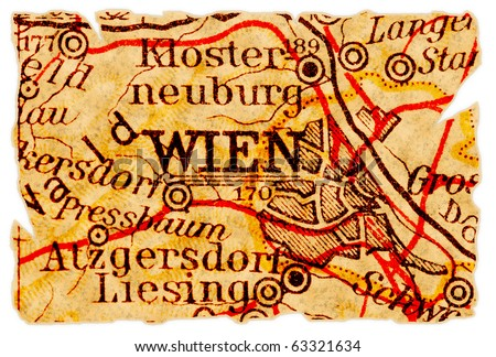 Vienna or Wien, Austria on an old torn map from 1949, isolated. Part of the old map series.