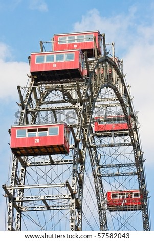 Vienna Prater Famous Old Ferries Wheel - stock photo