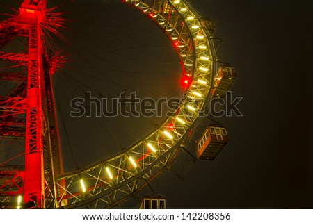 Vienna Prater riesenrad (observation wheel) by night - stock photo