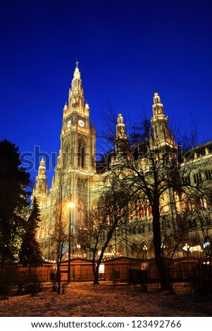 Vienna's City Hall at christmas advent - stock photo