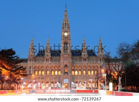 Vienna's City Hall at sunrise - stock photo
