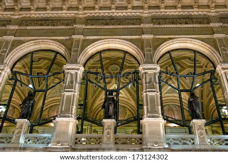 Vienna's State Opera House at night, Austria, detail - stock photo