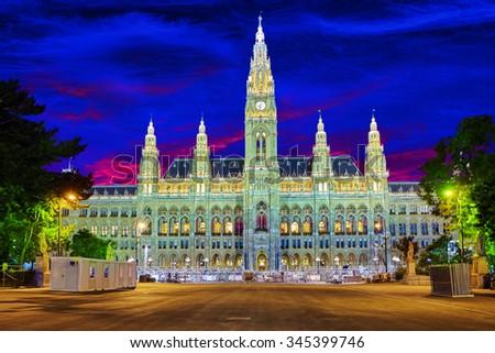 Vienna's Town Hall (Rathaus) at nightime.Vienna. Austria. - stock photo