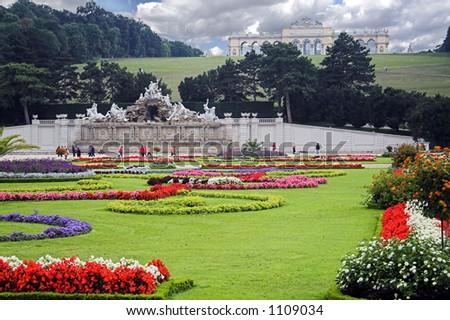 Vienna schrobrunn Garden with Neptune Fountain and Gloriette - stock photo
