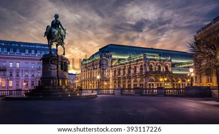 Vienna state opera at dawn - stock photo