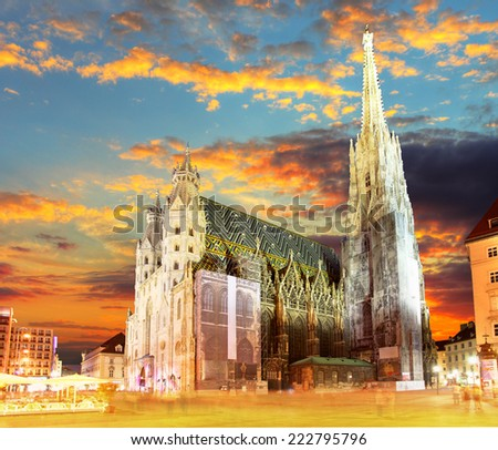 Vienna Stephansdom at colorful sunset in Austria - stock photo