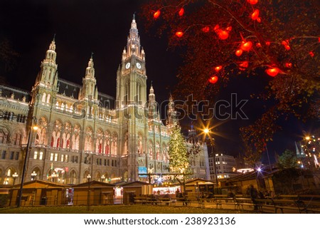 Vienna - tower of town-hall and christmas decoration  - stock photo